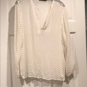 Zara sheer white Swiss dot Blouse